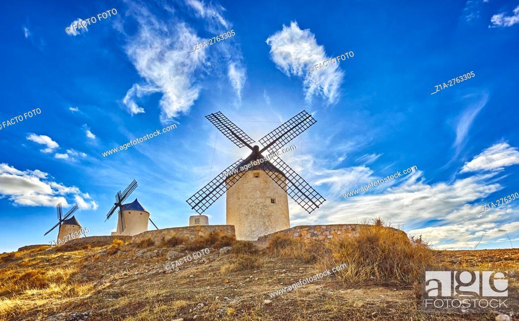 Stock Photo: Landscape with windmills of Consuegra. Don Quixote route. Toledo. Castile-La Mancha. Spain.