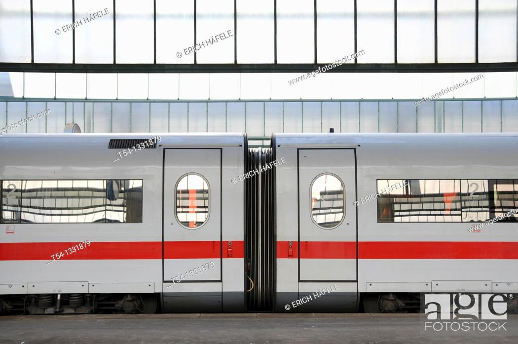 Stock Photo: Wagon compartments of the ICE high speed train in Stuttgart Central Station.