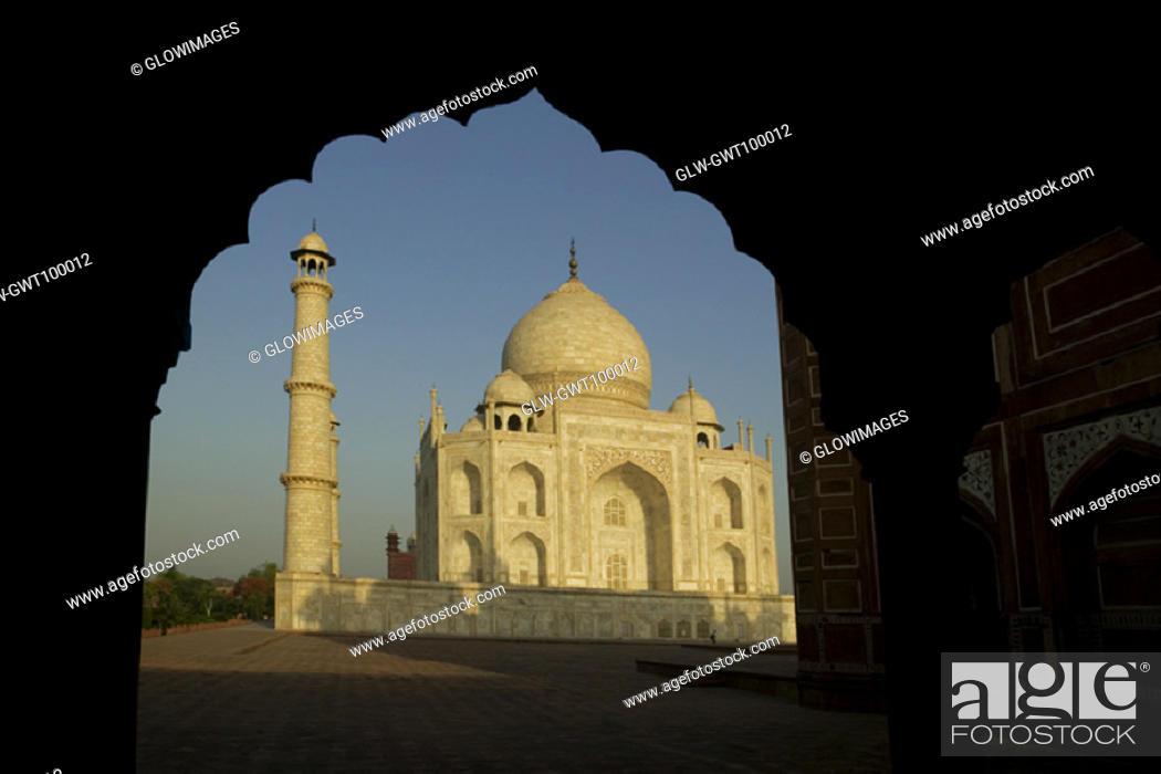Stock Photo: Facade of a monument, Taj Mahal, Agra, Uttar Pradesh, India.