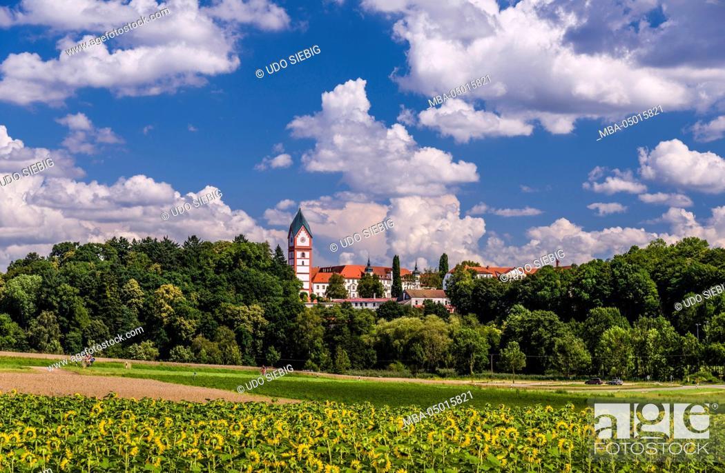 Stock Photo: Germany, Bavaria, Upper Bavaria, Hallertau, to Scheyern, local view with cloister of Scheyern, Benedictine's abbey.