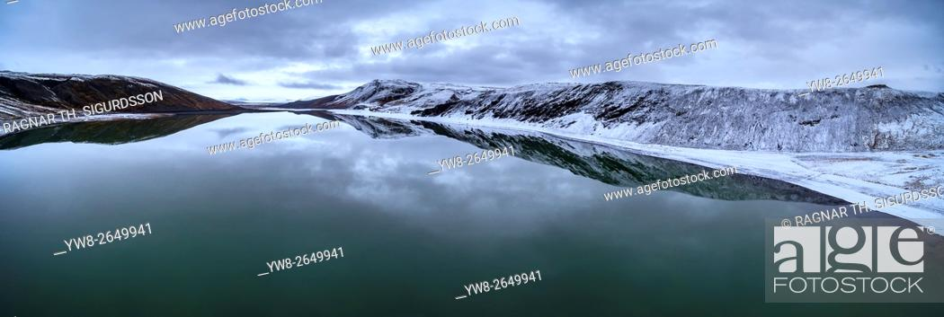 Stock Photo: Lake Sandkluftavatn, Kaldidalur Valley, Central Highlands, Iceland. This image is shot using a drone.