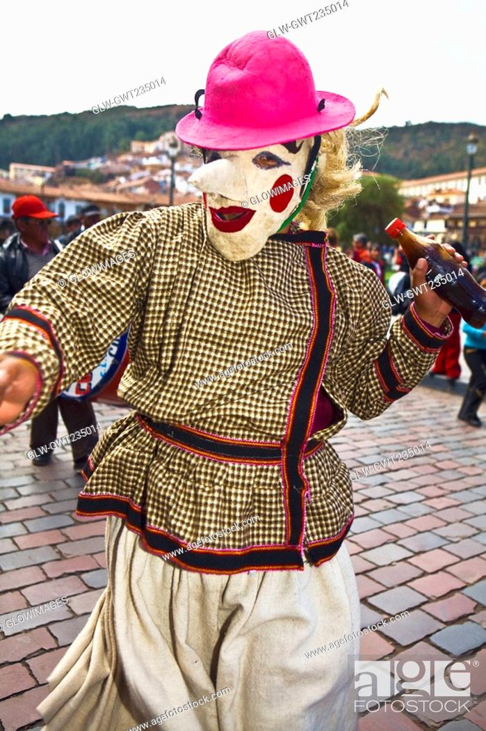 Stock Photo: Person wearing a traditional costume in a festival, Peru.