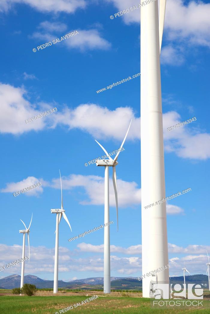 Stock Photo: Windmills for electric power production, Zaragoza province, Aragon, Spain.