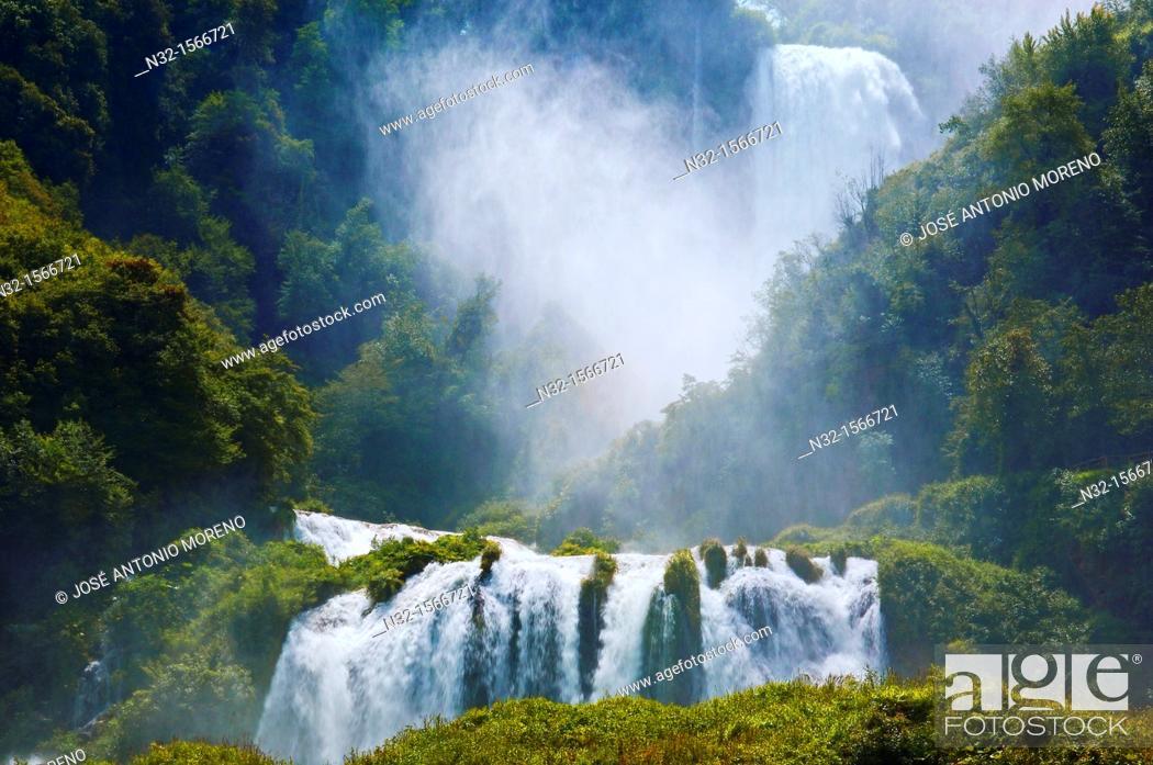 Stock Photo: Marmore waterfalls, Cascata delle Marmore (Marmore's Falls), Valnerina, Terni, Umbria, Italy, Europe.