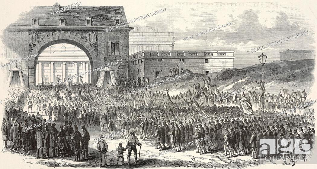 Stock Photo: Republican demonstration in Madrid, November 29, funeral procession arriving in Piazza Armeria, Spanish revolution, engraving by Cosson Smeeton from.