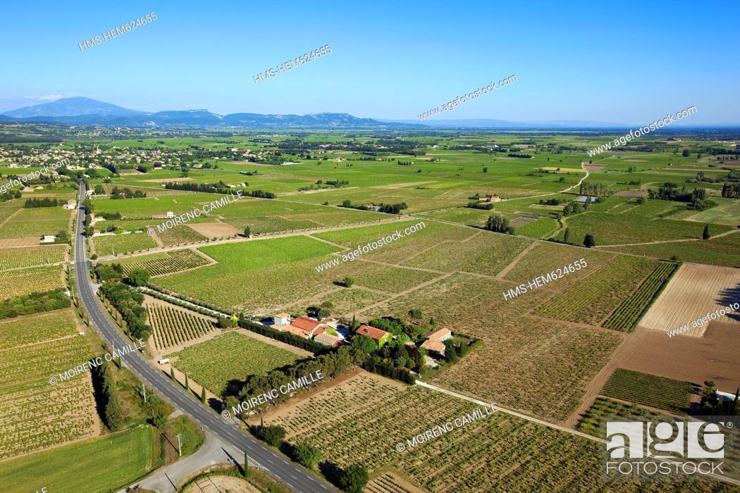 Stock Photo: France, Vaucluse, Ste Cecile les Vignes, Domaine de la Grand'Ribe, vineyards AOC Cotes du Rhone aerial view.