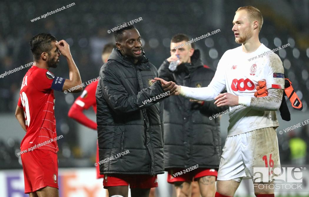 Standard s Paul Jose Mpoku Ebunge And Standard s Goalkeeper Arnaud Bodart Pictured After A Game Stock Photo Picture And Rights Managed Image Pic VPM Agefotostock