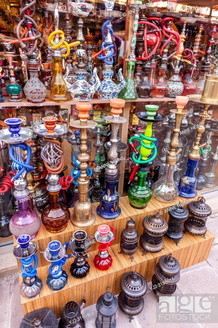 Stock Photo: Many colorful hokahs in turkish shop. Bodrum, Turkey.