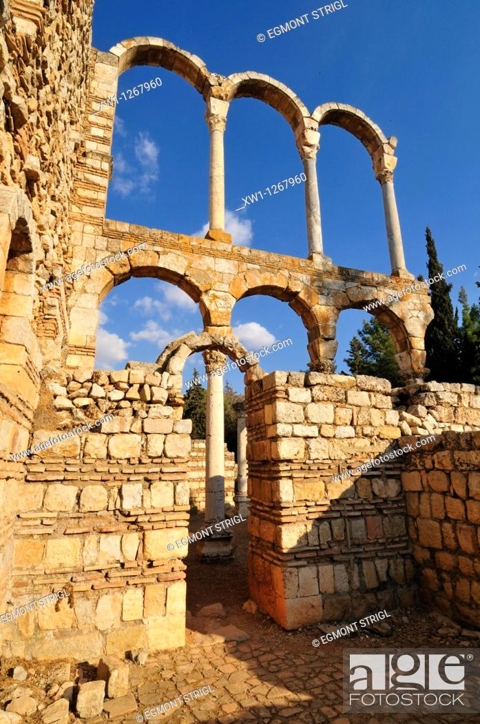Stock Photo: antique Umayyad ruins at the archeological site of Anjar, Unesco World Heritage Site, Bekaa Valley, Lebanon, Middle East, West Asia.