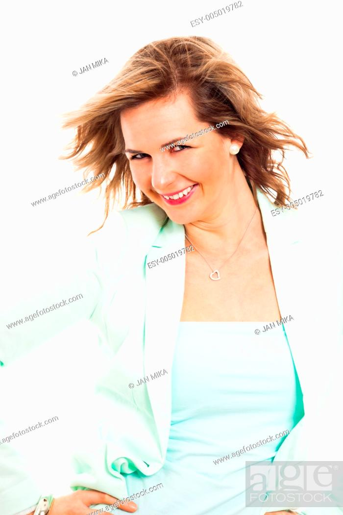 Stock Photo: Portrait of young happy smiling woman, isolated on white background.