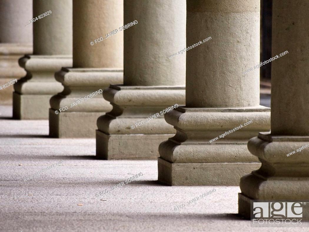 Stock Photo: Columnas en los soportales de la Plaza Mayor de Graus - Ribagorza - Huesca.