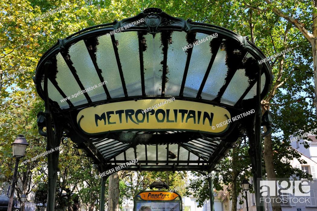 France, Paris, Place des Abbesses, metro station with Art Nouveau ...