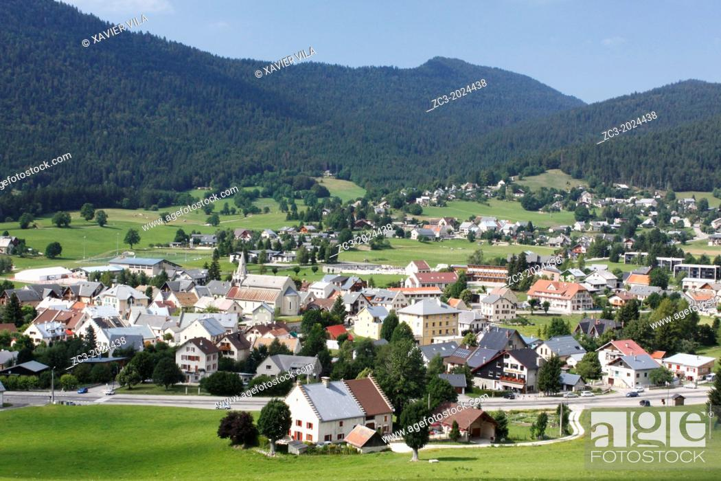 Stock Photo: Resort village of Autrans in the Regional Natural Park of Vercors, Isere, Rhone-Alpes, France.
