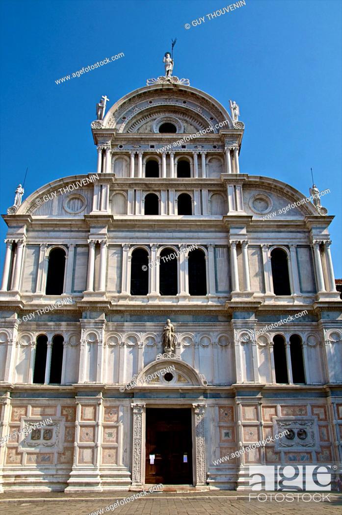 Stock Photo: San Giovanni in Bragora church facade, where future Pope Paul II 1464-1471 and Composer Antonio Vivaldi were baptized, Castello, Venice, Italy.