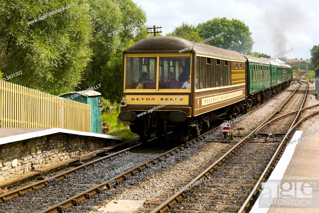Imagen: a rare Devon Belle Pullman observation car . Corfe railway station Dorset.