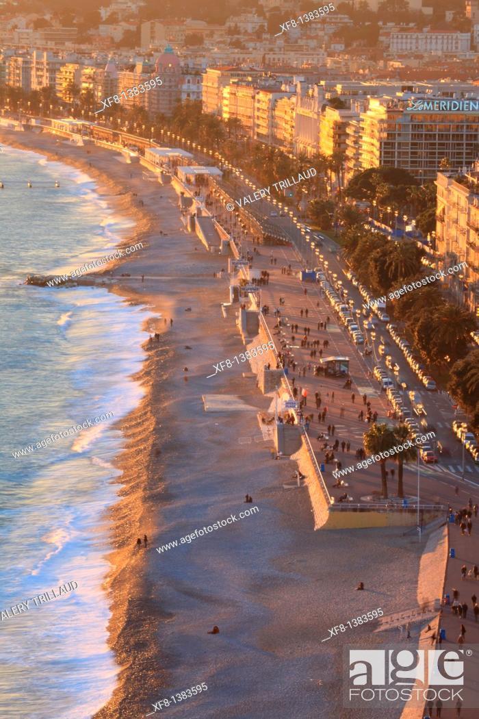 Stock Photo: The Promenade des Anglais of Nice, Alpes-Maritimes, Provence-Alpes-Côte d'Azur, France.