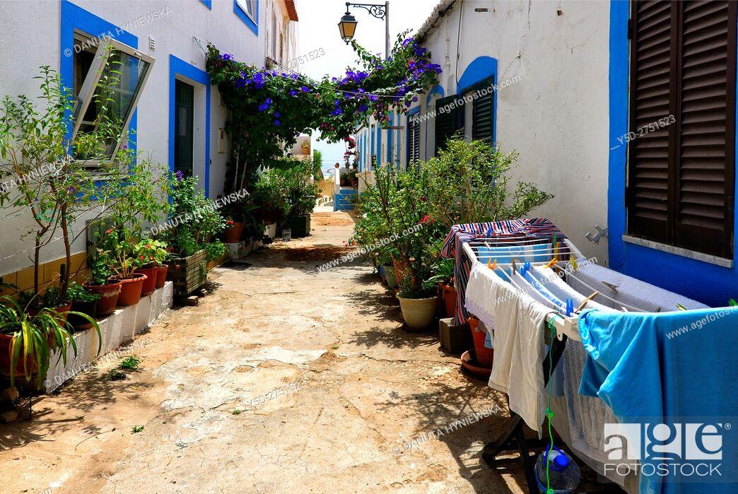 Stock Photo: narrow streets and characteristic Algarvian architecture, Old Town of Ferragudo, Lagoa, Algarve, Portugal, Europe.