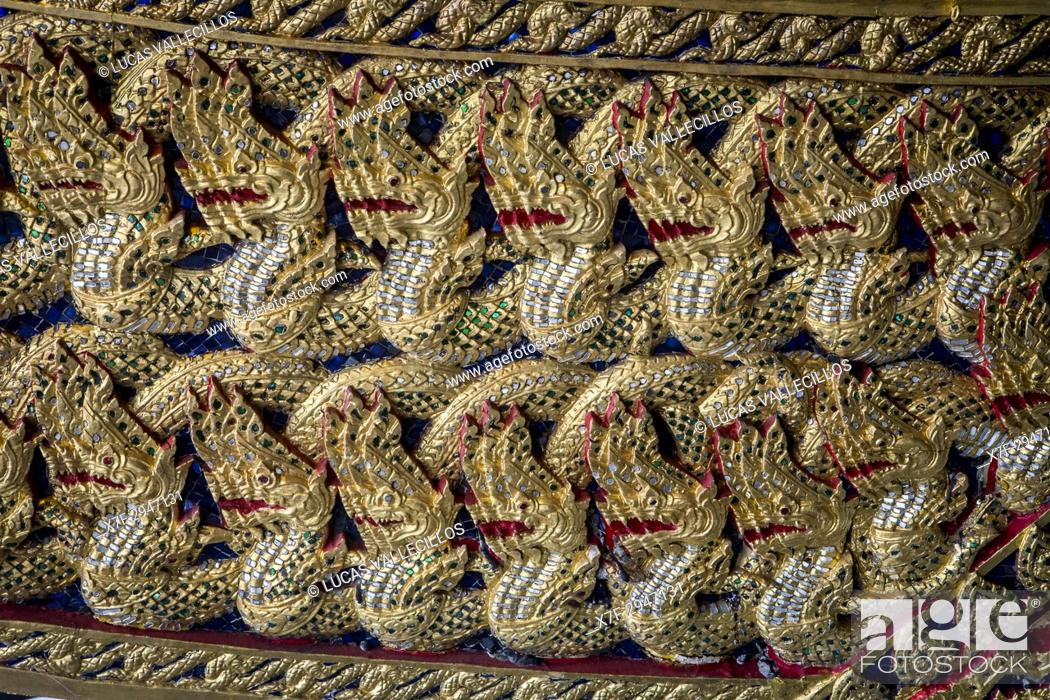 Stock Photo: Ornamentation, detail of barge, Royal Barges National Museum, Thonburi, Bangkok, Thailand.