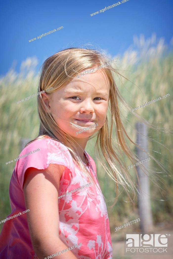 Stock Photo: Princess Ariane of The Netherlands pose for the media at the start of their summer holidays at the beach of Wassenaar, The Netherlands, 10 July 2015.