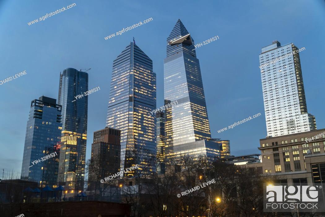 Stock Photo: New York NY/USA-December 27, , 2018 10 Hudson Yards, center left, 30 Hudson Yards, center right, and other development around Hudson Yards in New York on.