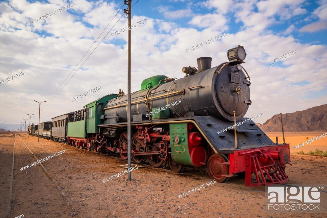Stock Photo: Locomotive train in Wadi Rum desert, Jordan.