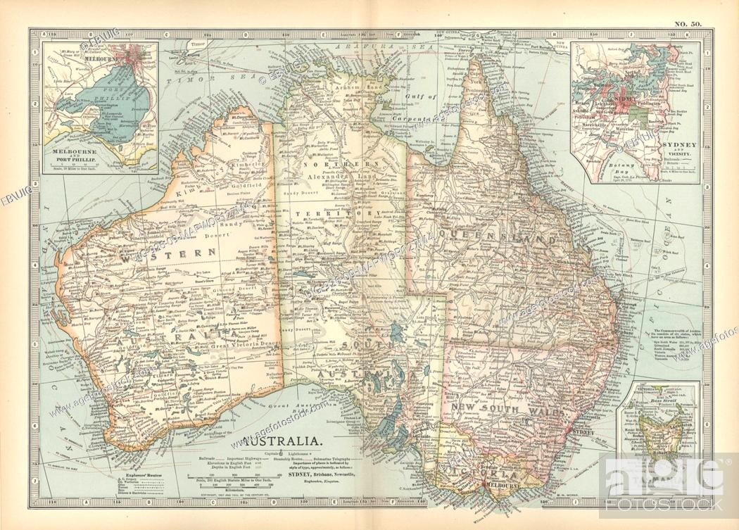 Map Showing Australia.Map Showing Australia With Insets Of Melbourne And Port Phillip