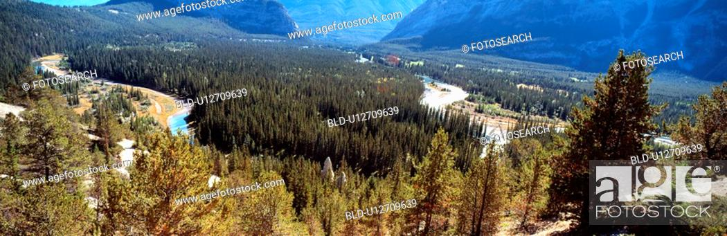 Stock Photo: landscape, river, scenery, valley, tree, panorama.