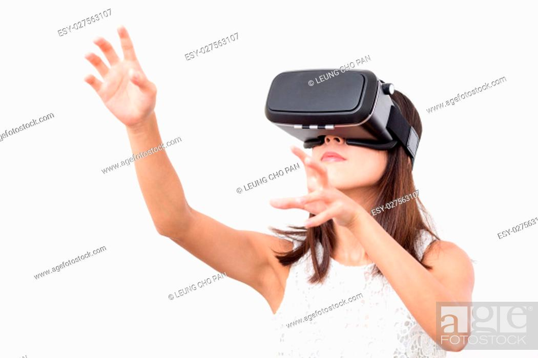 Stock Photo: Young Woman watching with virtual reality.
