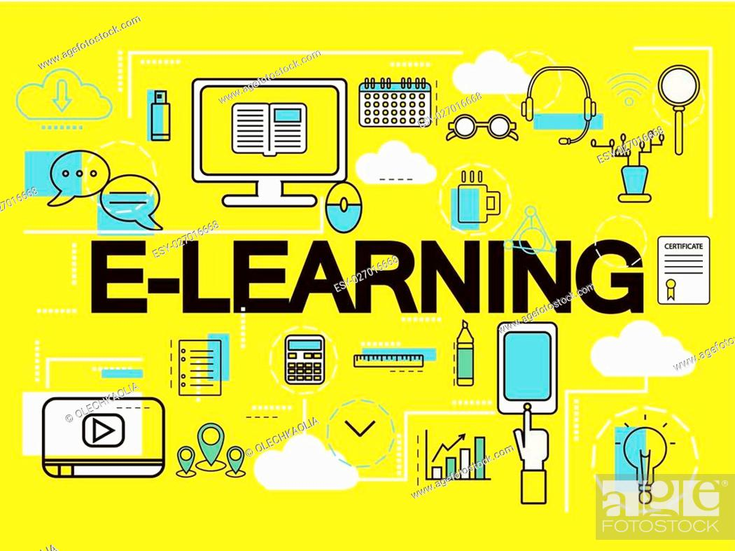 E Learning Banner Concept Online Education Thin Line Icons Stock Vector Vector And Low Budget Royalty Free Image Pic Esy 027016668 Agefotostock