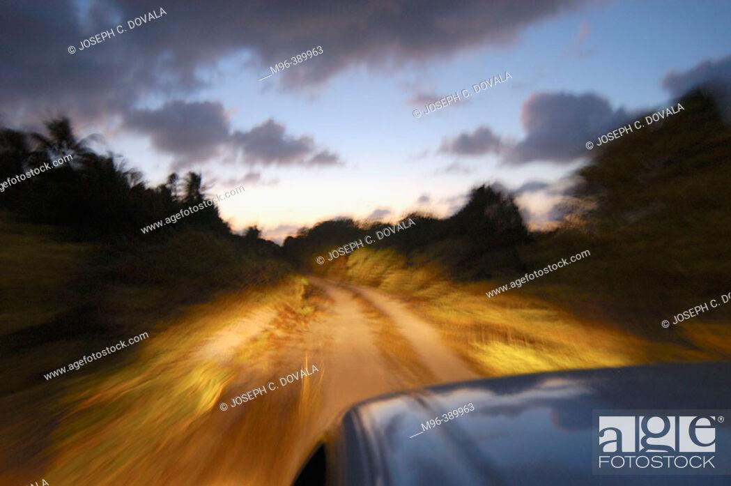 Stock Photo: Driving on a dirt road. Bikini Atoll.