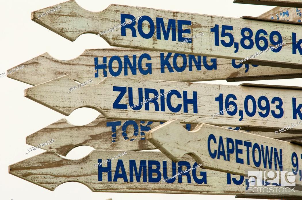 Stock Photo: Poster distances, New Zealand.