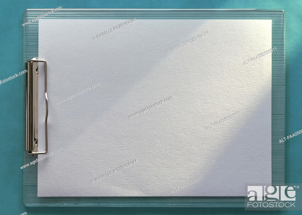 Stock Photo: Clipboard holding blank white paper, horizontal, full length, close-up, teal background.