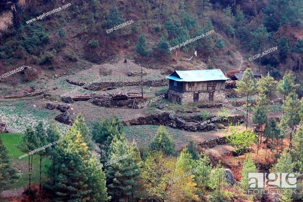 Stock Photo: Nepalese house, Everest region, Himalaya.