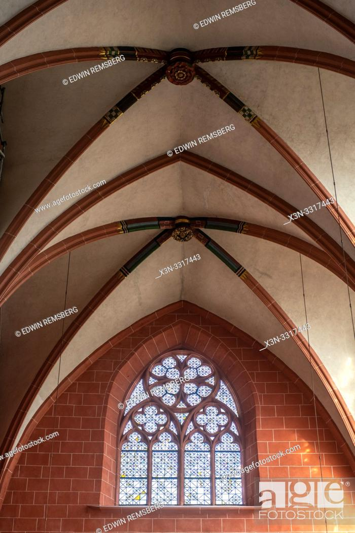 Stock Photo: Details of the architecture of Imperial Cathedral of Saint Bartholomew , Frankfurt Germany.
