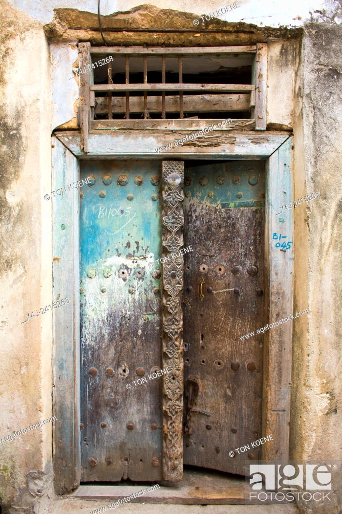 Stock Photo: wooden doors in Zanzibar.