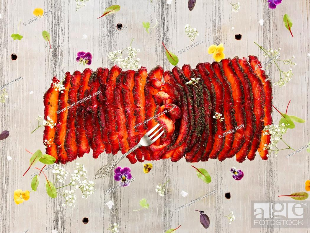 Stock Photo: Beetroot cured salmon.
