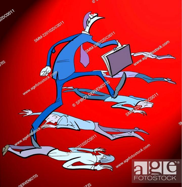 Stock Photo: Businessman walking over dead bodies.