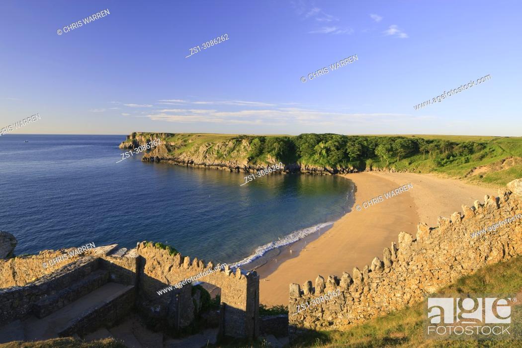 Stock Photo: Barafundle Bay Pembroke Pembrokeshire Wales.
