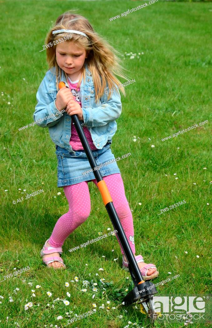 Stock Photo: Blond girl, six years old, remove weed in a lawn in Ystad, Scania, Sweden.