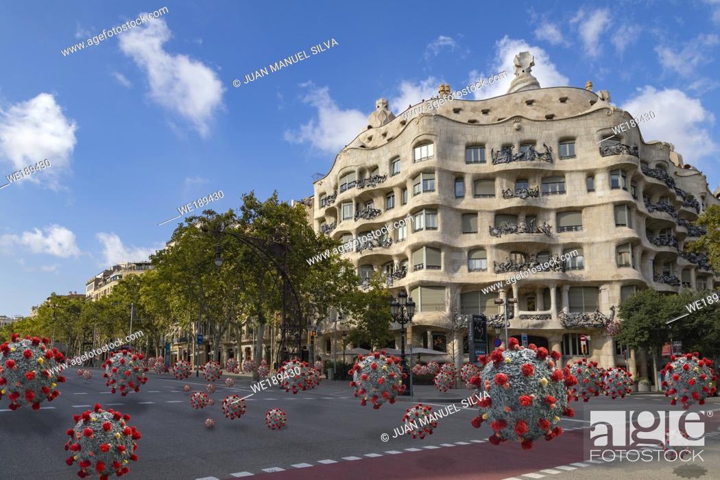 Stock Photo: Coronavirus spreaded along Passeig de Gràcia, Barcelona, Catalonia, Spain.