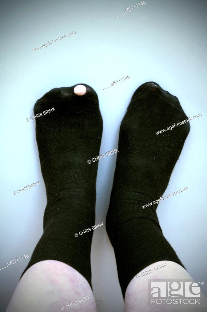 Stock Photo: Hole in sock.