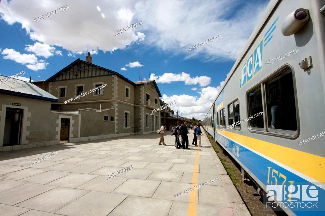 Stock Photo: Expreso Del Sur At The Train Station, Oruro, Bolivia.