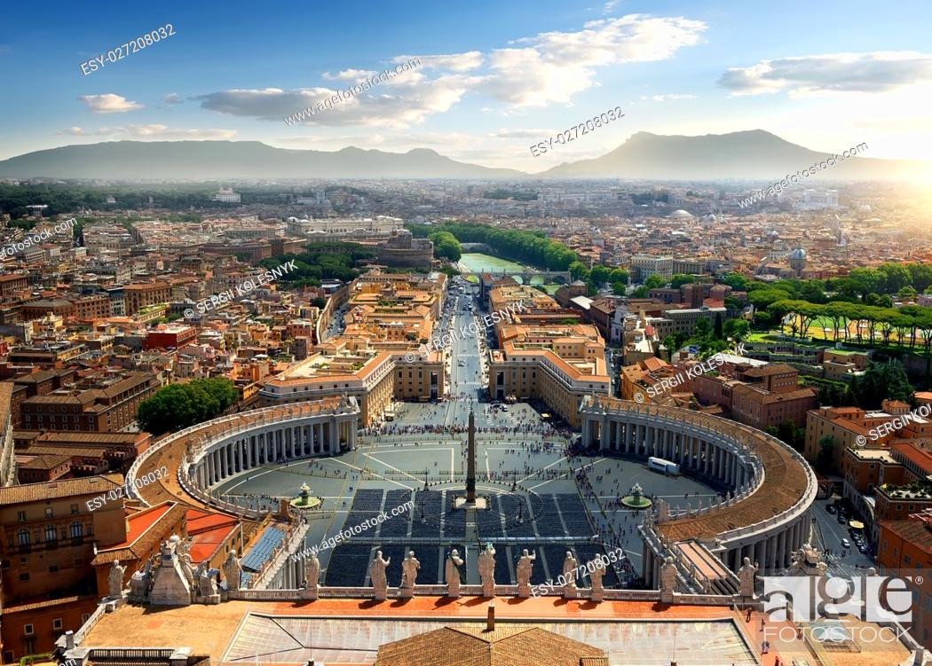 Stock Photo: Aerial view on Vatican and piazza, Italy.