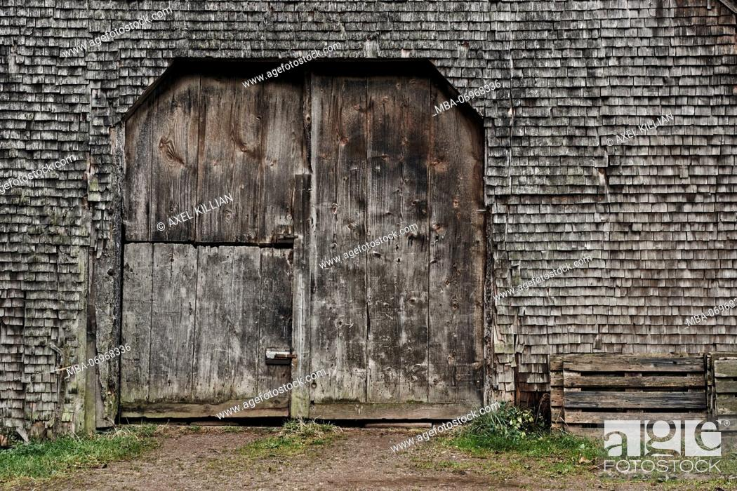 Stock Photo: old shingles and gate, grey and weathered on a wooden house in the Black Forest, detail.