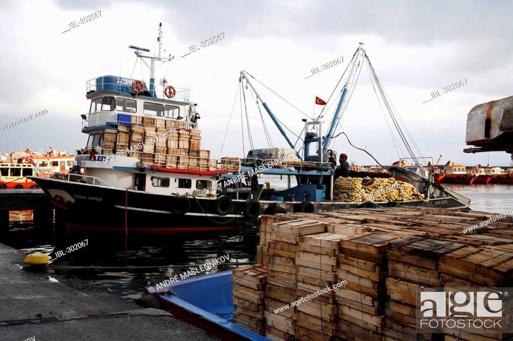 Stock Photo: Fishing trawler in the harbour in Istanbul, Turkey.