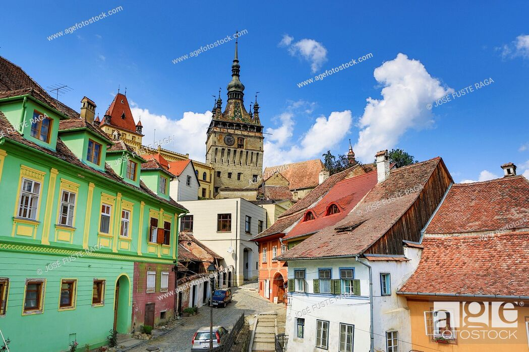 Stock Photo: Romania, Mures County, Sighisoara City, The Citadel, Clock Tower.