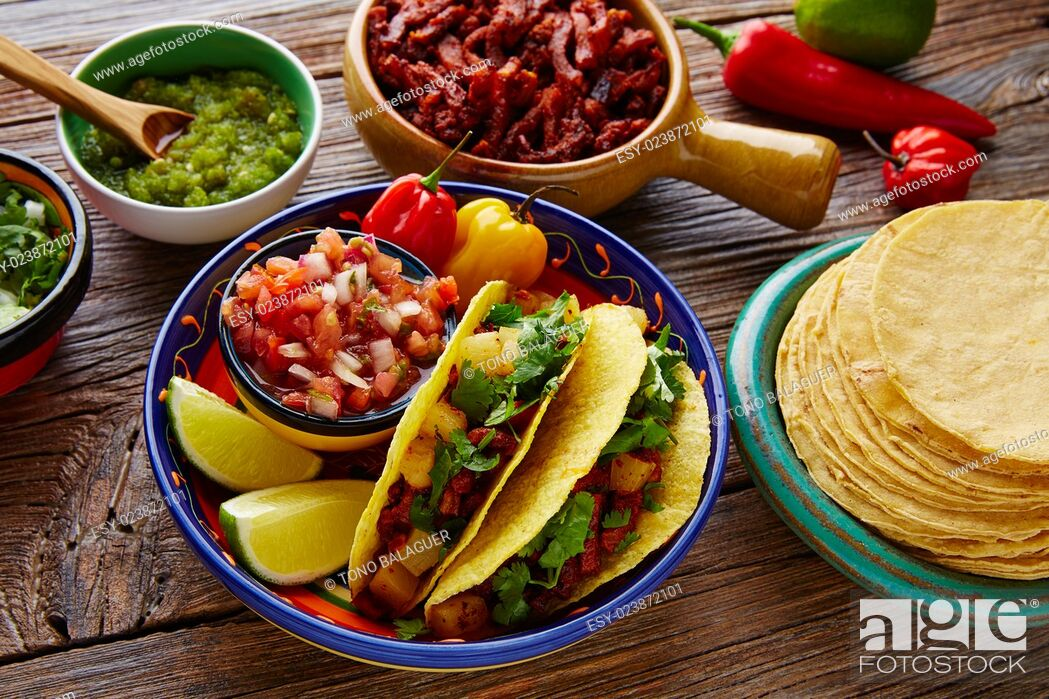 Stock Photo: Tacos al pastor Mexican with coriander pineapple and chili.