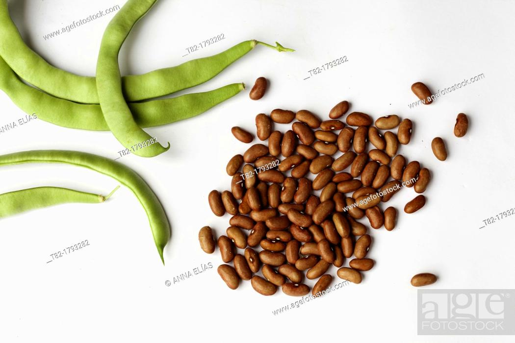 Stock Photo: bainas pulses and seeds of green beans Morocco horseshoe on white background.