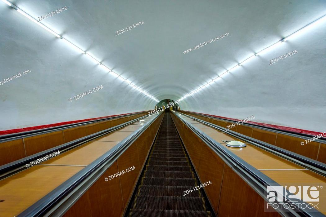 Stock Photo: Long escalators and long tunnel to Yerevan metro, Armenia.