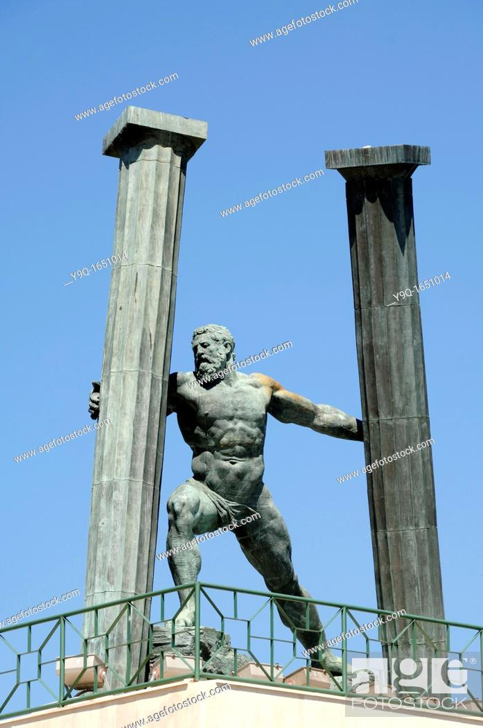 Stock Photo: Hercules and Pillars Statue at the Entrance to Ceuta Harbour or Port Ceuta Spain.